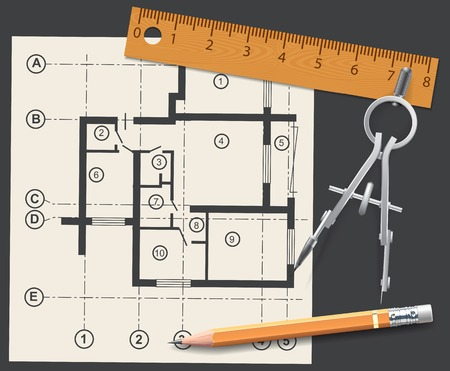 pencil sketch: Compasses, pencil and ruler on a background of the drawing apartments. Vector illustration