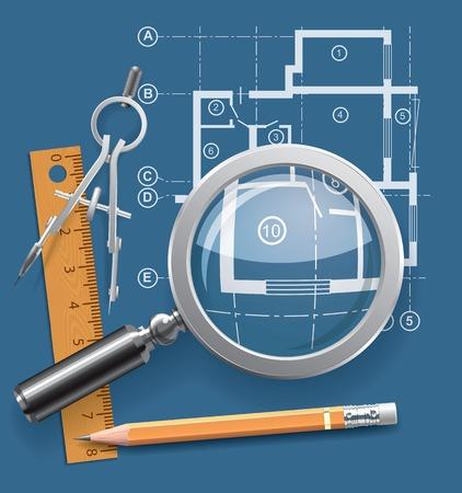 lijntekening: Kompassen, potlood en liniaal op de achtergrond van de tekening appartementen. Vector illustratie Stock Illustratie