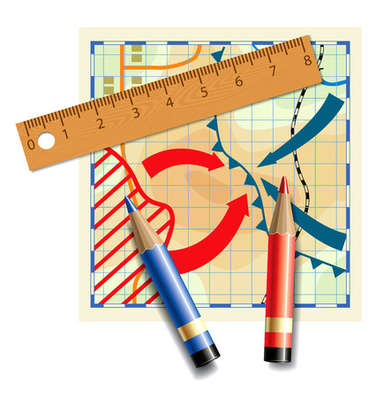 Wooden ruler and colored pencils on a fictional and stylized map of fighting. Vector illustration