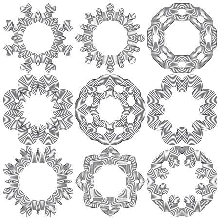 openwork: Set of openwork circular ornaments. Vector illustration