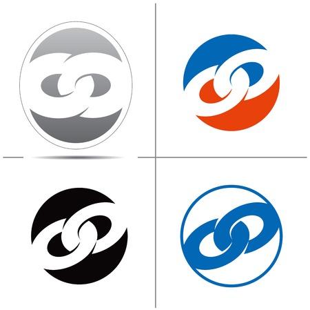 チェーン リンクの形式で、シンボルのセットです。便利なは、ロゴを作成します。ベクトル図  イラスト・ベクター素材