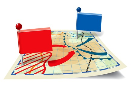 intervention: Pointers in the form of flags on a fictional and stylized map of fighting. Vector illustration