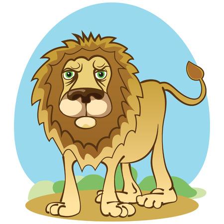 León divertido en estilo de dibujos animados. Ilustración vectorial
