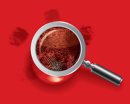 Fingerprints enlarged by magnifying glass. Vector illustration