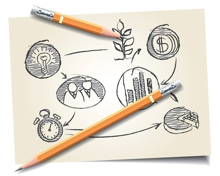cadre: Pencils on a background of a startup scheme. Vector illustration
