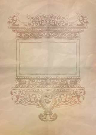 ancient paper: Vintage frame on crumpled ancient paper. Vector illustration