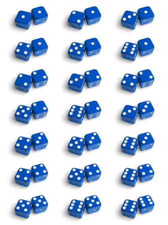 combinations: The set of all possible combinations of dices. 3d illustration on the white background Stock Photo