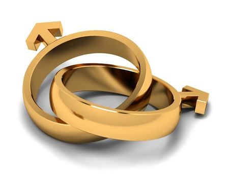 Two gold rings in the form of gender symbols