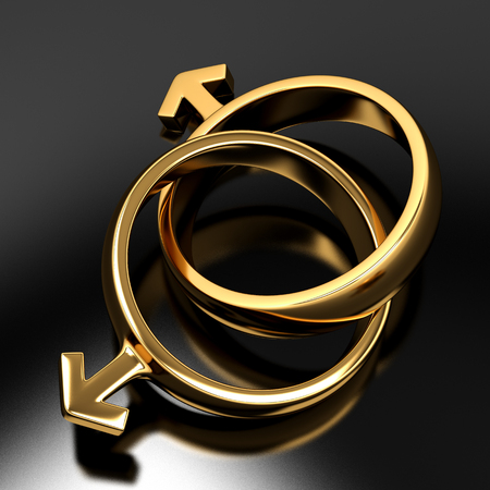 homosexual sex: Two gold rings in the form of gender symbols