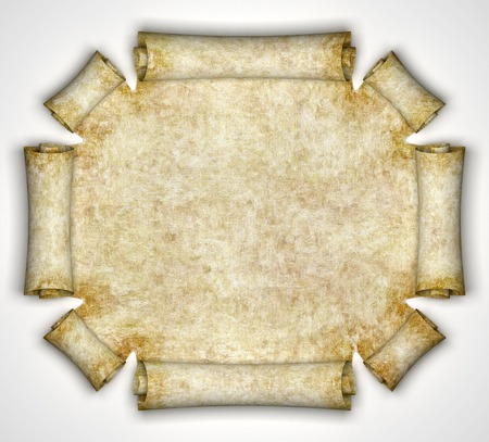 scroll border: Ancient parchment as background for text, maps etc. 3d render Stock Photo