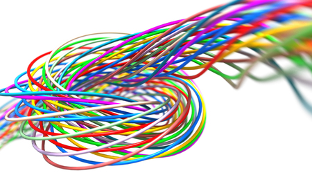 Colorful twisted wires isolated on the white background. 3d render