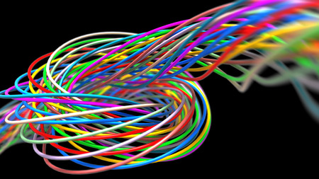 Colorful twisted wires isolated on the black background. 3d render Banco de Imagens