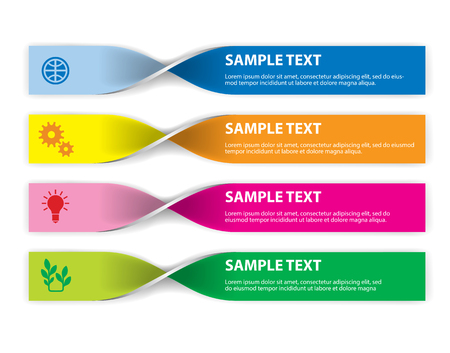 inkle: Set of info graphics elements in the form of paper tapes for a variety of purpose. Illustration on white background