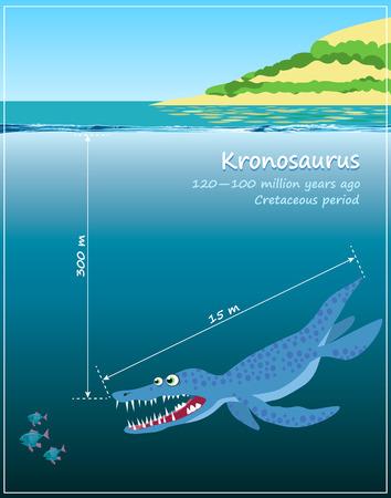 cretaceous: Kronosaurus. Huge sea dinosaur of the Cretaceous period. illustration in cartoon style Illustration