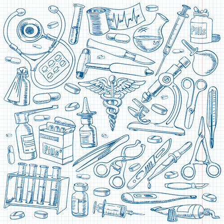 medical drawing: Medical equipment and tools in the freehand drawing style. Illustration