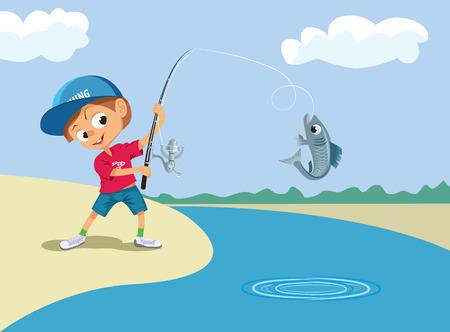 男の子の川で釣り。
