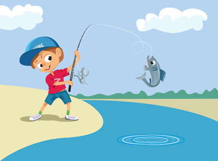 fishing lake: Boy fishing in a river.