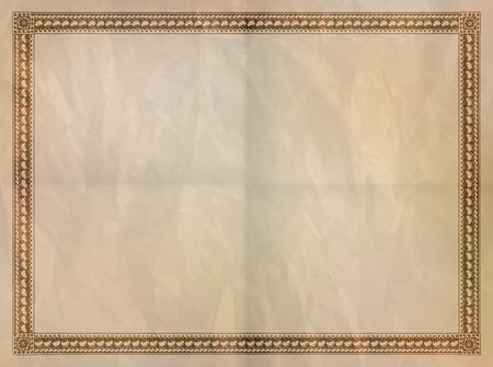 bordes decorativos: Marco de la vendimia en el papel arrugado antigua. Vectores