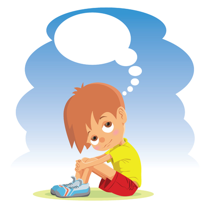 Sad boy thinking about something. Stock Vector - 48895340