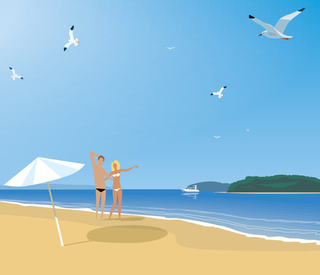 insolación: Pareja descansando en una playa desierta de la costa. Vectores