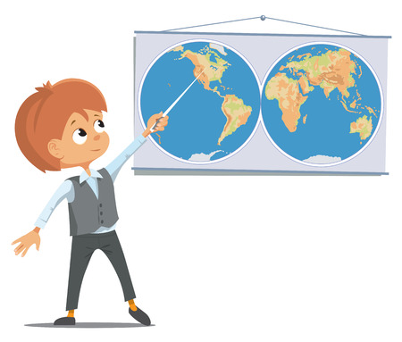 first grade: The pupil at the school in the classroom stands near the world map.  Illustration
