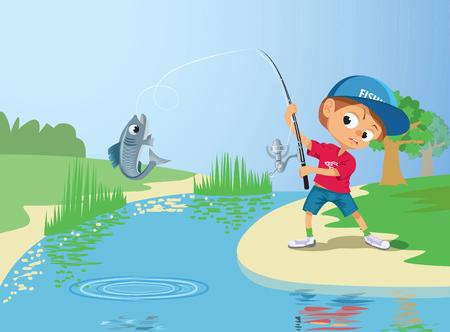 dock: Boy fishing in a river.