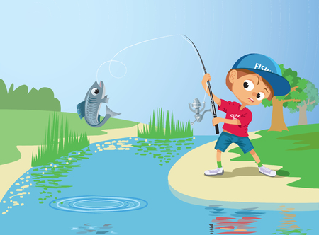 Boy fishing in a river.