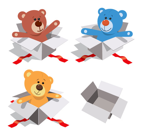 Teddy bears in gift boxes. Vector illustration