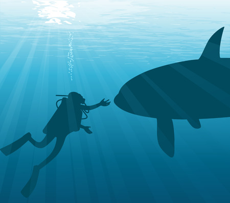 Meeting under water. Diver and orca. Vector illustration