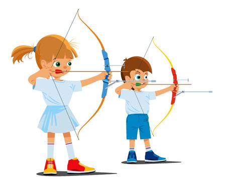 Los niños participan en el tiro con arco deportivo. ilustración vectorial Foto de archivo