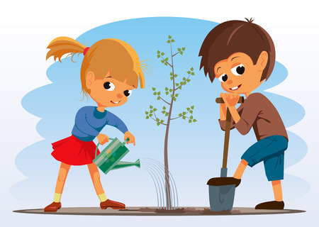 Girl and boy planted a tree. Vector Illustration Banco de Imagens