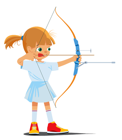 Little girl is engaged in a sports archery. Vector illustration