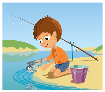 river vector: The boy lets out the fish caught by him to the river. Vector Illustration