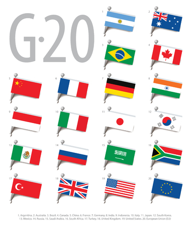 g20: Set of flags of the countries - members of The Group of Twenty (G20). Vector Illustration