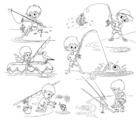 Kids fishing. Set of vector images