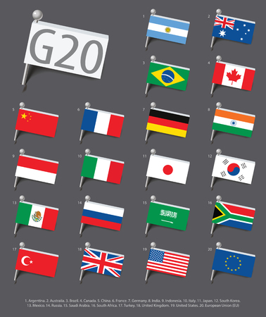 Set of flags of the countries - members of The Group of Twenty (G20). Vector Illustration