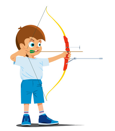 Boy is engaged in a sports archery. Vector illustration