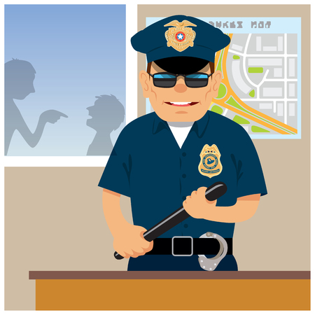 constable: Patrolman in the police station. Vector illustration