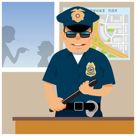 patrolman: Patrolman in the police station. Vector illustration