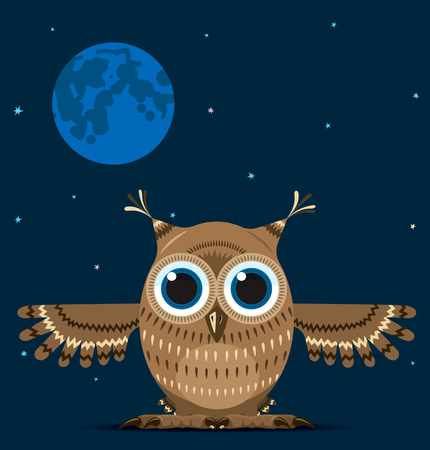 Owl with outstretched wings on the background of night sky. Vector illustration