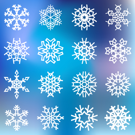 White snowflakes on blue blurred background. Vector illustration Banco de Imagens