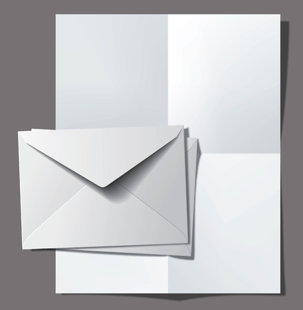 Postage envelopes and folded paper sheet. Vector illustration