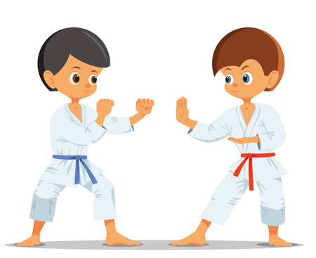 Boys who compete in karate. Vector illustration Banco de Imagens