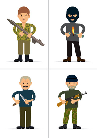evildoer: Set of personages. Terrorists and offenders. Vector illustration Stock Photo