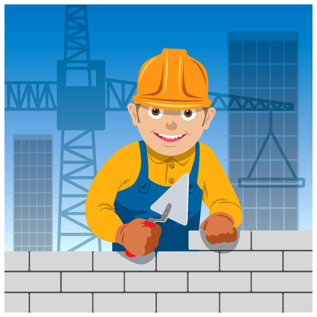 building site: Bricklayer on a building site. Vector illustration Stock Photo