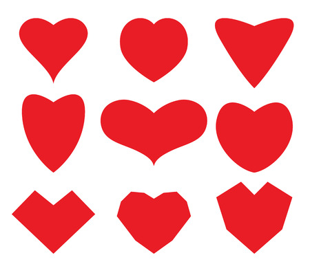 Set of stylized images of hearts. Vector illustration