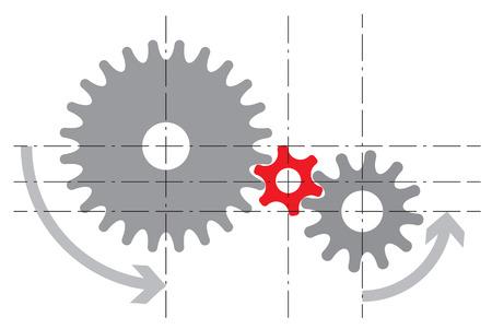 機構の様式化されたイメージ。ベクトル図