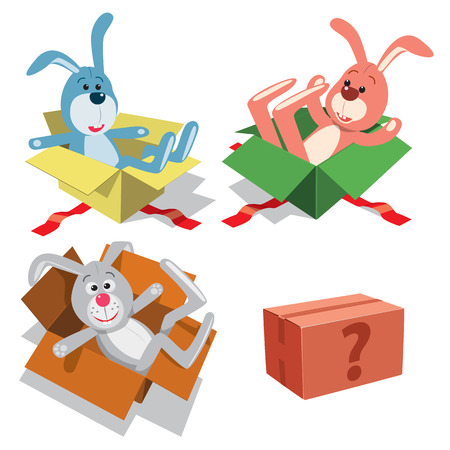 Teddy rabbits in gift boxes. Vector illustration