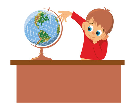 Boy rotates the globe. Vector illustration