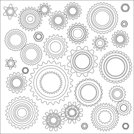 Set of Images of gears. Vector illustration